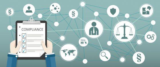 Uma imagem que ilustra vários ícones com relação ao compliance